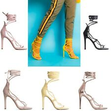 Womens Ladies Lace Up Tie Up Ankle Tie High Heels Stiletto Heels Shoes Size