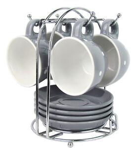 Espresso Set mit 4x Tassen, 4x Untertassen und 1x Metallständer - GRAU