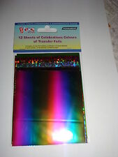 12 SHINY FOIL TRANSFER SHEETS - Celebrations colours  11cm x 9cm