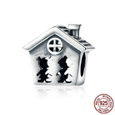 Real 925 Sterling Sweet Home Family Children Together Forever House Charm Beads