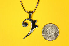 Bass Clef Music Pendant Stainless Steel FREE beaded chain necklace