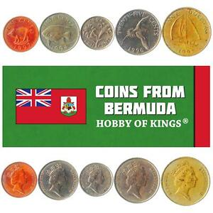 SET OF 5 COINS FROM BERMUDA. 1, 5, 10, 25 CENTS, 1 DOLLAR. 1986-1998