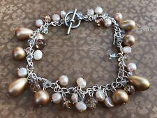 Brand new, handmade christmas dangle charm bracelet with crystal beads