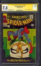 Amazing SPIDER MAN 35 CGC SS 7.5 Stan Lee Sign 2nd Molten Man Steve Ditko 1966