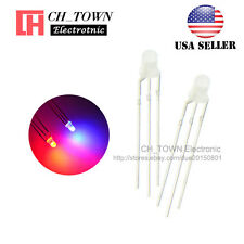 100pcs 3mm 3Pin Common Cathode Diffused Bi-Color Red Blue Light Led Diodes USA