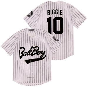 Biggie Smalls Bad Boy 10 Baseball Jersey Button Down Short Sleeve Shirt 3 Styles
