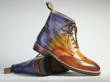 Handmade Brown Blue Leather Ankle Boot, Men's Multi Color Leather Boots