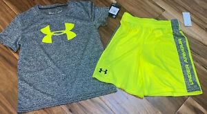 UNDER ARMOUR Boy Outfit Heat Gear Big Logo Shirt/Matching Shorts Sz 6 NWT RV $36