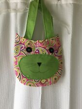Handmade Girls Purse-Pink Paisley/Lime-Cat Face-Cotton-Lined