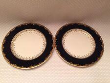 """Set of 2 Antique Johnson Bros England """"PAREEK"""" Black Gold Saucer RARE HTF"""