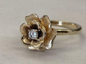 ❤️Vintage 14k Yellow Gold Natural Round Single Cut Diamond  Rose Flower Ring