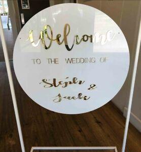40cm WHITE ACRYLIC BACKDROP SIGN DISC DECAL CIRCLE WEDDING BALLOON EVENTS - NEW