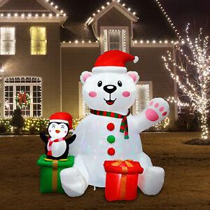 6FT Christmas Inflatable Polar Bear with Light Outdoor Xmas Decorations Yard