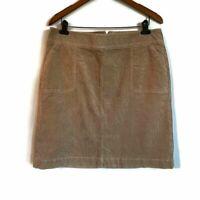 Talbots Womens Corduroy Pencil Skirt Brown Stretch Pockets Above Knee Zipper 16