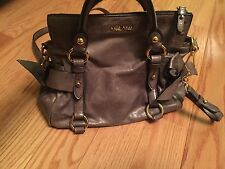 100% Auth MIU MIU VITELLO LUX LEATHER MINI GREY BOW SATCHEL MESSENGER BAG