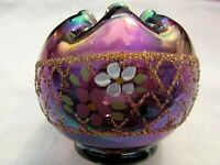 "FENTON VINTAGE PLUM CARNIVAL GLASS HP ROSE BOWL  4""H x 4""W HTF"