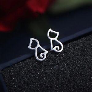 Cat studs Silver studs Silver animal Earrings