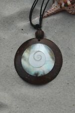 Large Round Coco Wood & Mussel Shell Beach Necklace With Shiva Eye Inlay / N309