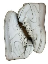 Nike Air Force One Mids Sz 5 Youth Triple White