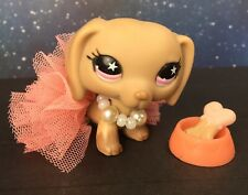 Littlest Pet Shop LPS #932 Brown Dachshund Pink Eyes Star with Accessories Rare