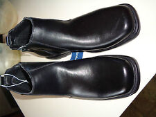 Sketchers Black Leather Side Zip Square Toe Mens Ankle High Boots NWT 6.5M