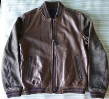 Coach Men Leather & Suede Baseball Jacket - Brown/Medium $998