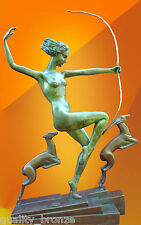 ART DECO BRONZE Diana with Fawns, STATUE FIGURE BOURAINE  HOT CAST FIGURINE
