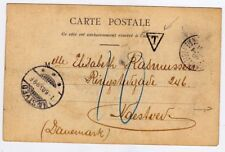 CHINA Tientsin 1905 French P.O. Cover Peking Postcard Postage Due to Denmark