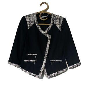 Size 4 Woman's WHITE HOUSE BLACK MARKET Ponte Knit Tweed Combo Blazer Jacket
