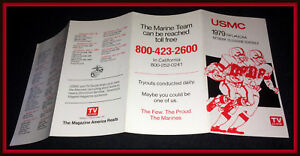 1979 UNITED STATES MARINE CORP NCAA & NFL FOOTBALL POCKET SCHEDULE FREE SHIPPING
