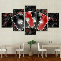 Set Of Ace Playing Cards Poker 5 panel canvas Wall Art Home Decor Poster Print