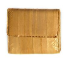Lee Sands Eelskin Tan Coin Purse with ID Window, Key Ring and Mirror