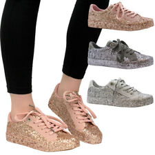 Ladies Womens Flats Lace Up Glitter Pumps Trainers Plimsolls Sneakers Shoes Size