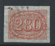 More details for brazil 1861 sg27 280r vermilion - 4 margins - fine used. catalogue £110
