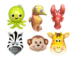 Animal Heads Safari Jungle Farm Pet Birthday Party Helium Foil Balloon