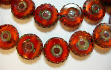 15 12mm Czech Glass Orange Ember Blend Picasso Daisy Flower Coin Beads