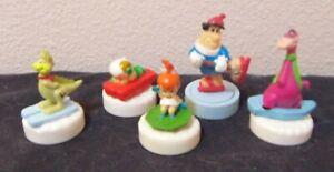 vintage Denny's fast food Flintstones Glacier Glider lot of 5 toys 1990