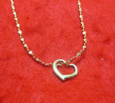 14KT  GOLD EP 20 INCH 2MM TWISTED NUGGET DESIGNER  NECKLACE WITH FLOATING HEART