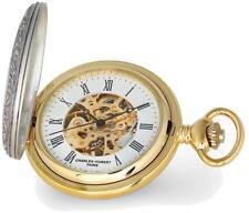 Charles Hubert 2-tone Ribbon & Shield Skeleton Dial Pocket Watch