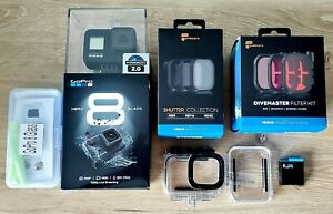 GoPro HERO 8 BLACK & EXTRAS, Shutter And Divemaster ND Filters Battery etc...
