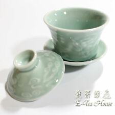 Chinese Celadon Tureen Tea Makers Gaiwan for Gong Fu Tea - Dragon Relief , 110ML