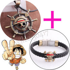 New Cosplay Anime One Piece Luffy's Straw Hat Metal Pendant Necklace+Bracelet
