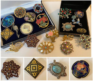 Job Lot Vintage Jewellery Brooches inc Cloisonné, Damascene, Marcasite etc x20