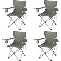 Ozark Trail Classic Durable Folding Camping Outdoor Chairs Cup Holder, Set of 4