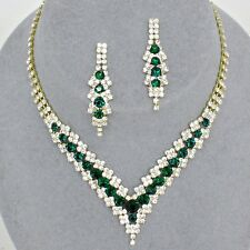 Emerald green gold tone diamante crystal sparkly jewellery set Brides proms 0346