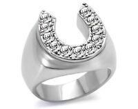 LTK34532PN MANS HORSE SHOE SIMULATED DIAMOND RING SIGNET PINKY STEEL NOT TARNISH
