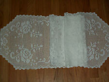 """VINTAGE  HAND CROCHET TABLECLOTH / RUNNER  *MINT* WHITE SIZE 16""""  x 72"""" INCHES"""