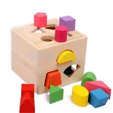 Wooden Geometry Shape Blocks Sorting Sorter Box Children Kid Educational Toy