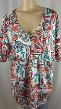 Jessica London Multi Color Knit Abstract Floral Ladies Shirt Size 14 / 16