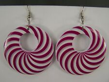 Pink White Grey disc earrings painted swirl medallion dangle wood hoop 2.5""